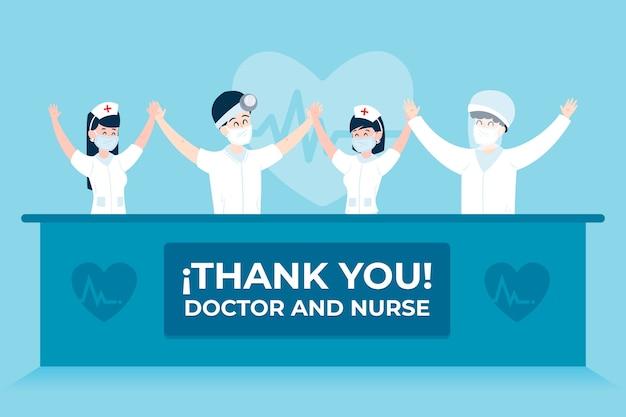 Waardering van artsen en verpleegsters Gratis Vector