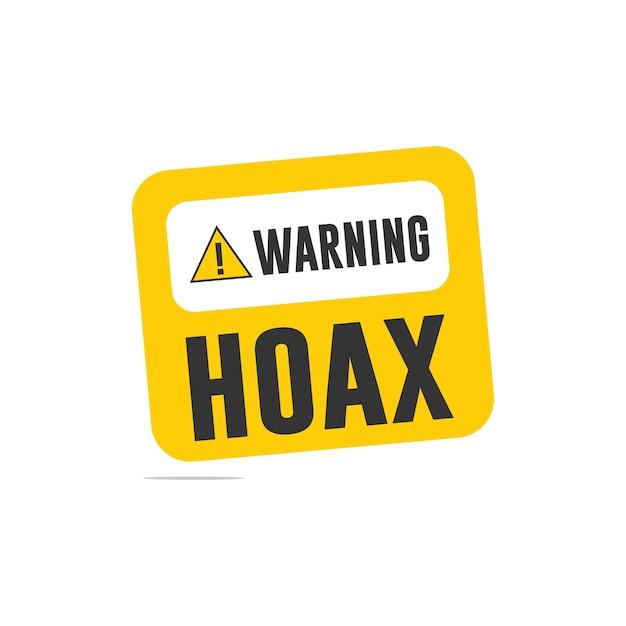 Waarschuwing hoax-logo Premium Vector