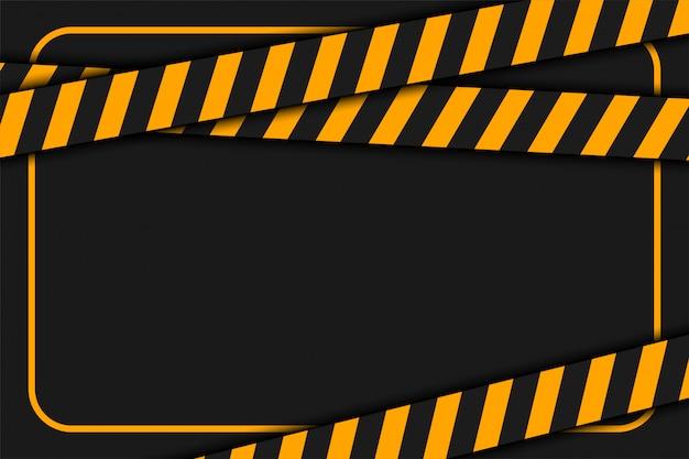 Waarschuwing of voorzichtigheidsband op zwarte achtergrond Gratis Vector