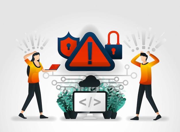Waarschuwingssysteem waarschuwt voor hacking-bedreigingen Premium Vector