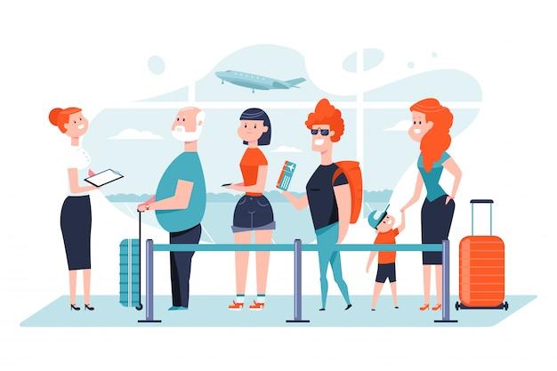 Wachtrij op de luchthaven Premium Vector