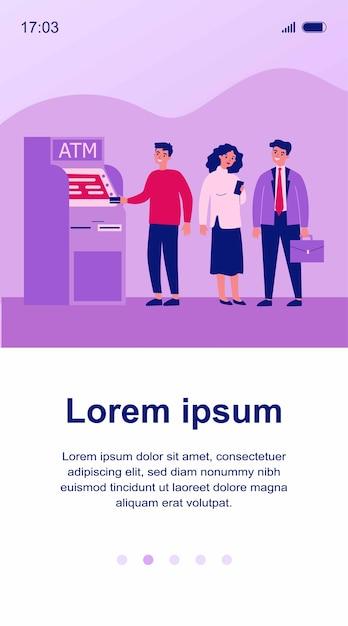 Wachtrij van bankcliënten die zich bij geldautomaat bevinden. mensen die in de rij staan voor het gebruik van hun creditcard voor transacties. illustratie voor financiën, geld terugtrekken, valuta concept Premium Vector