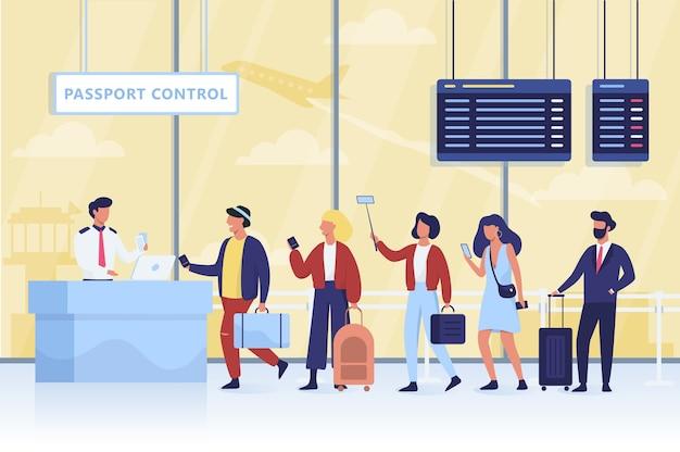 Wachtrij voor de paspoortcontrole op de luchthaven Premium Vector