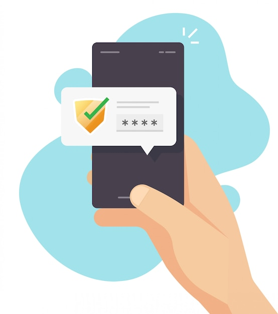 Wachtwoordcodeverificatie beveiligingsbescherming voor autorisatiemelding op mobiele telefoon of digitale beveiligde toegang pus meldingsbericht op mobiel vector plat Premium Vector