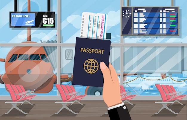 Wachtzaal in passangerterminal van luchthaven Premium Vector