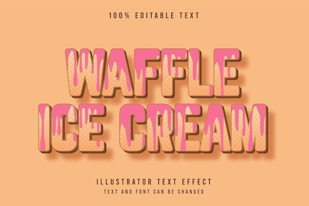 Wafelijs, 3d bewerkbaar teksteffect bruin gradatie roze patroonstijl effect Premium Vector