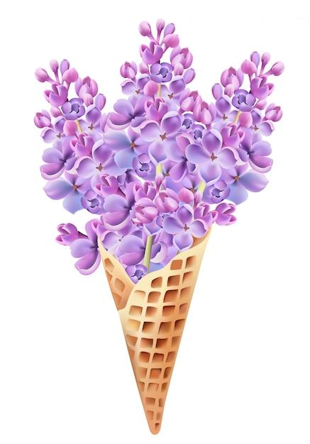 Wafelkegel gevuld met lila bloemen. Gratis Vector