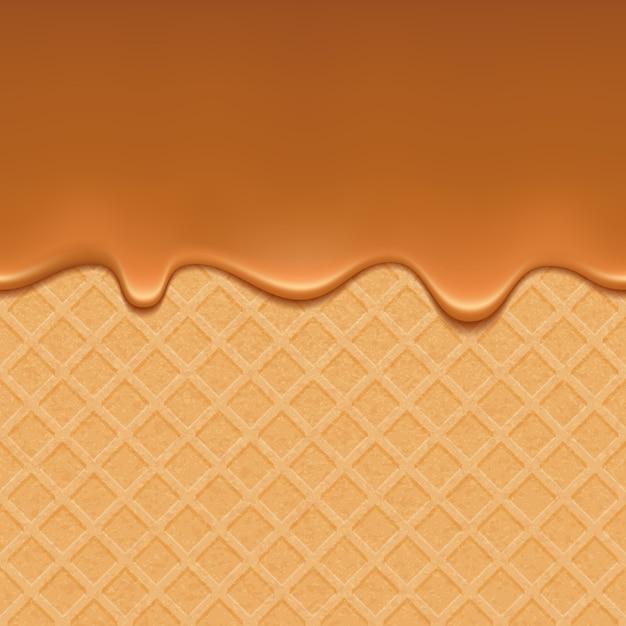 Wafer en vloeiende karamel Premium Vector