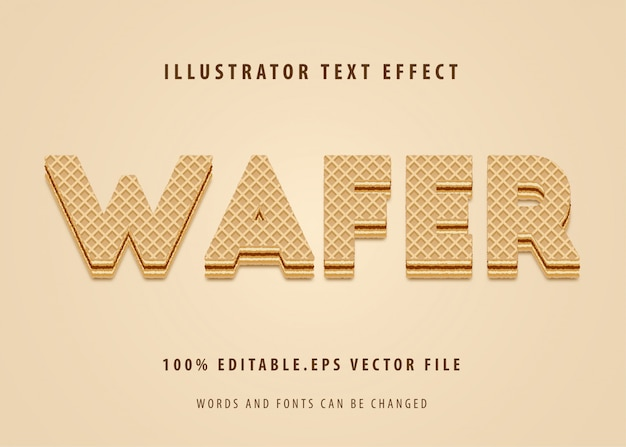 Waffer-tekststijleffect Premium Vector