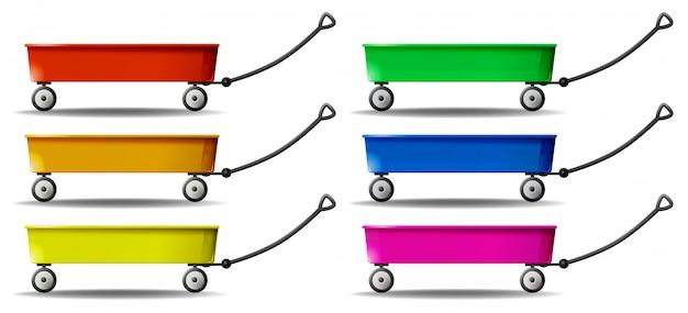 Wagen in zes kleuren Gratis Vector