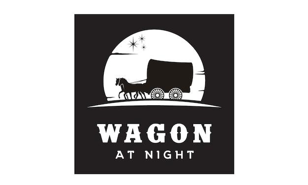 Wagon logo ontwerp inspiratie Premium Vector