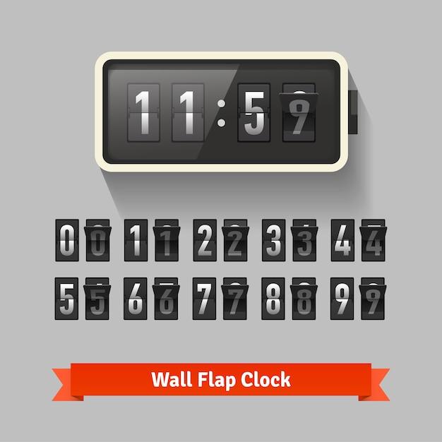 Wall flap klok, nummer teller sjabloon Gratis Vector