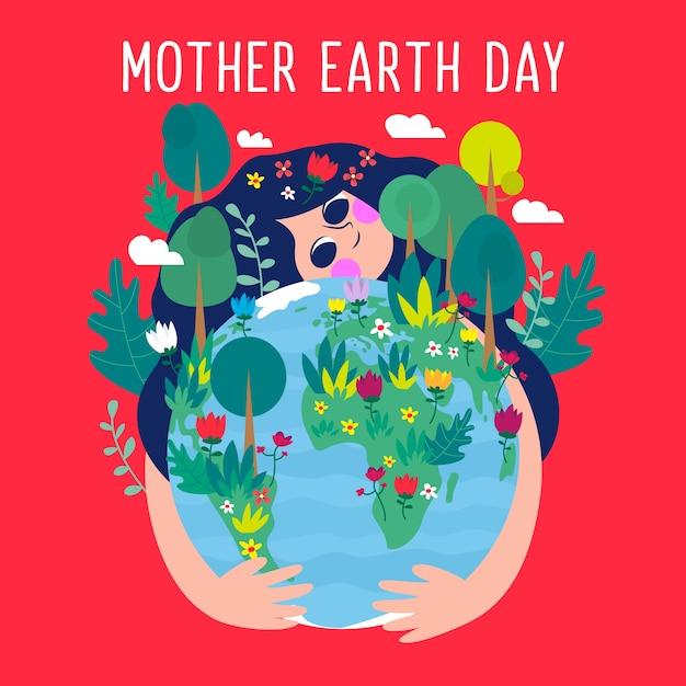 Wallpaper van moeder aarde dag in plat ontwerp Gratis Vector