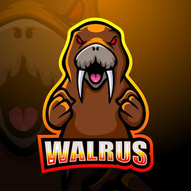 Walrus mascotte esport logo ontwerp Premium Vector