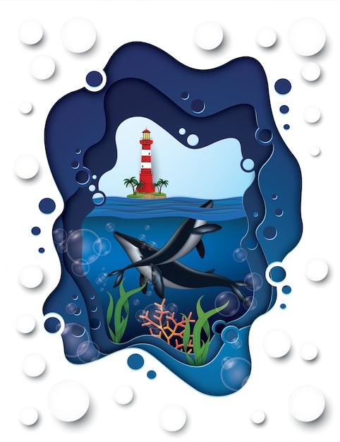 Walvis onder de zee, ambachtelijke stijl. Premium Vector