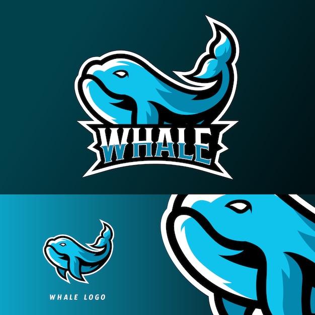 Walvis vissen sport of esport gaming mascotte logo sjabloon Premium Vector