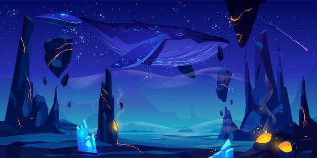 Walvis zwemt in diepe ruimteillustratie Gratis Vector