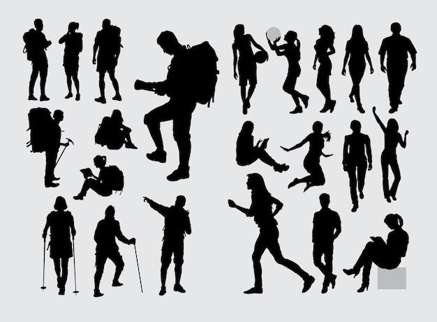 Wandelaar backpacker en mensen sport silhouet Premium Vector