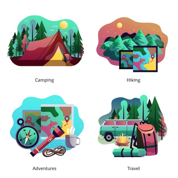 Wandelen camping abstract concept Gratis Vector