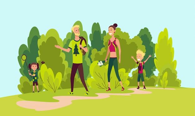 Wandelen en gelukkige familie. zomer trekking buiten. avontuur vector concept. familie trekking Premium Vector