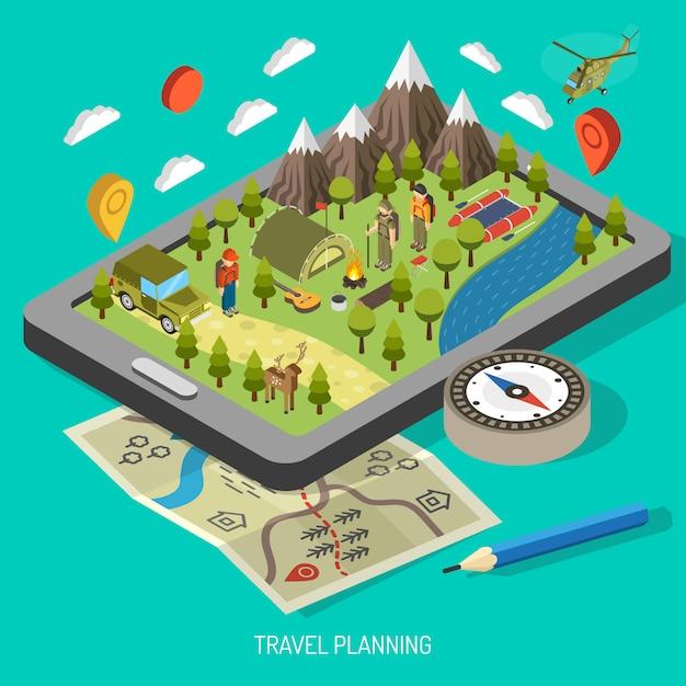 Wandelen en kamperen concept Gratis Vector