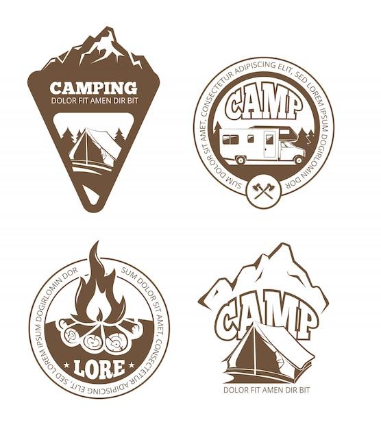 Wandelen en kamperen retro labels, emblemen, logo's, badges Premium Vector