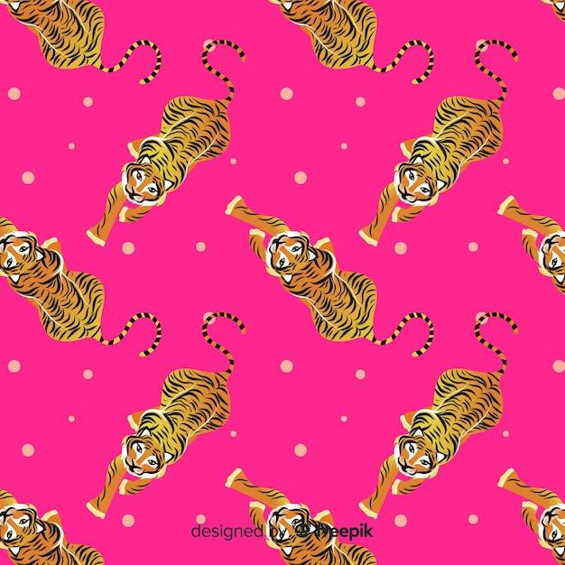 Wandelen tijger patroon Gratis Vector