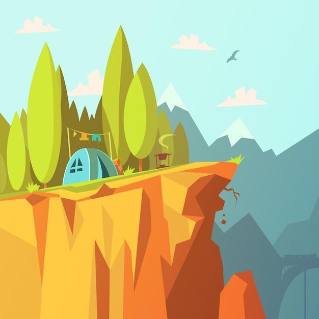 Wandeling en toerisme op de bergenachtergrond met tent op een vectorillustratie van het klippenbeeldverhaal Gratis Vector
