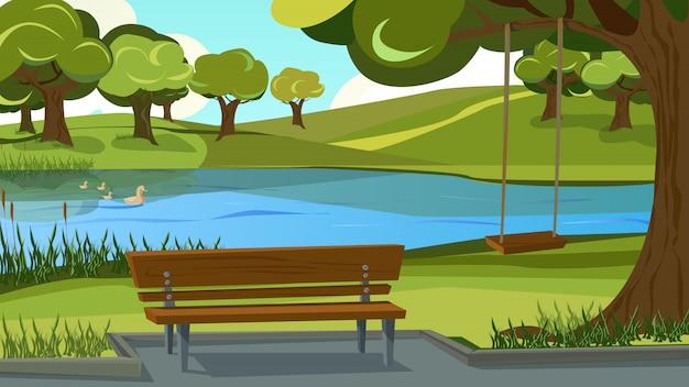 Wandelpad in park. houten bank op de oever van de rivier Premium Vector