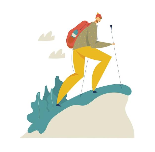Wandeltoerist in het bergavontuur. reizende man met rugzak wandelen en wandelen. toerismeconcept met backpacker-karakter. Premium Vector