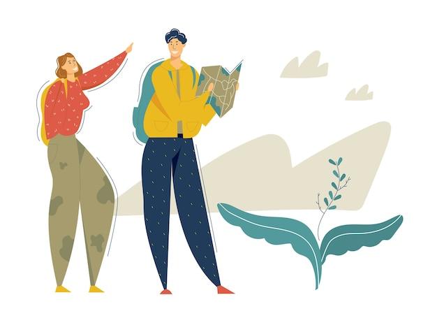 Wandeltoeristen in het bergavontuur. reizend paar met rugzak en kaart wandelen en trekken. toerismeconcept met backpacker-karakters man en vrouw. Premium Vector