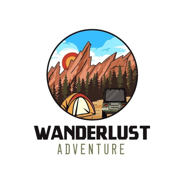 Wanderlust adventure-logo, retro campingembleem met bergen, tent en rv. Premium Vector
