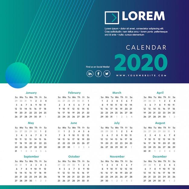 Wandkalender 2020 kleurrijke sjabloon Premium Vector