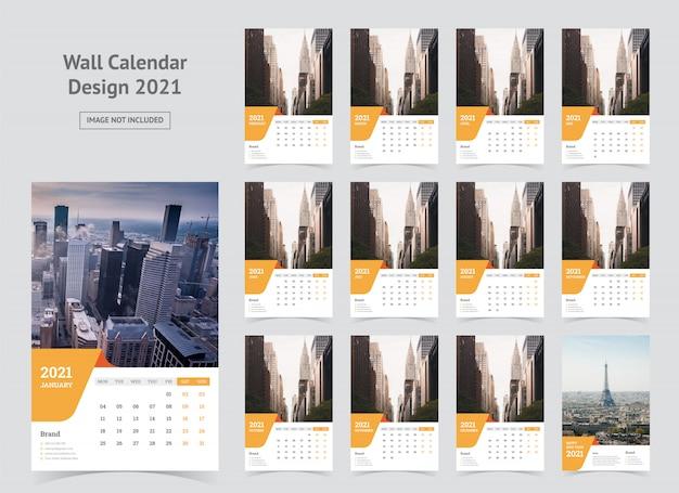 Wandkalender 2021 sjabloon Premium Vector