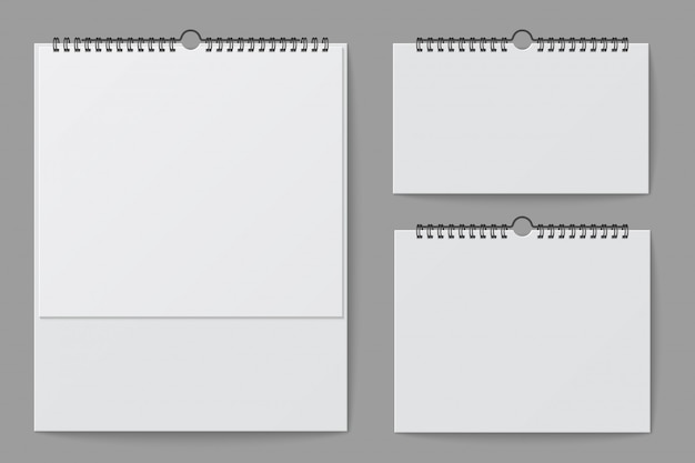 Wandkalender mockup. lege witte desktop-kantooragenda met spiraalvormig bindmiddel. 3d-vector geïsoleerde sjabloon Premium Vector