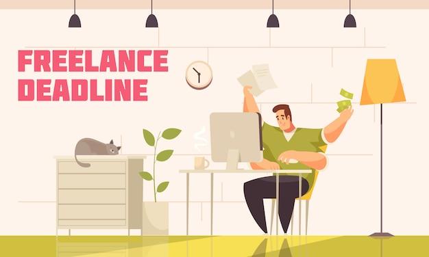 Wanhopige freelancer haalt moeilijke deadline achter computerhuis met kattenkoffie extra handen platte strips Gratis Vector