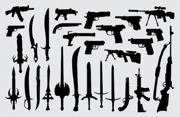 Wapen, pistool, pistool en zwaard silhouet Premium Vector