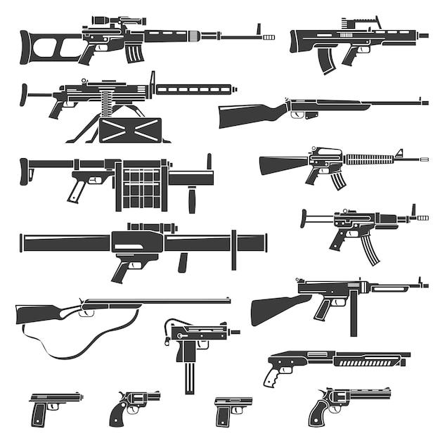 Wapens en geweren monochrome set Gratis Vector