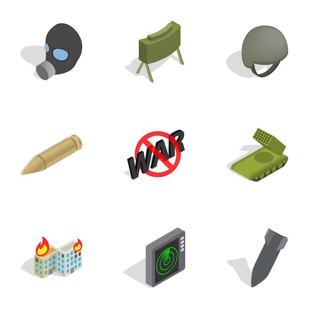 Wapens iconen set, isometrische 3d-stijl Premium Vector
