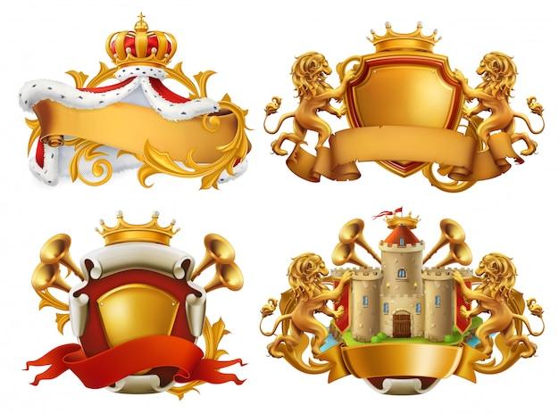 Wapenschilden. koning en koninkrijk. 3d embleem set Premium Vector
