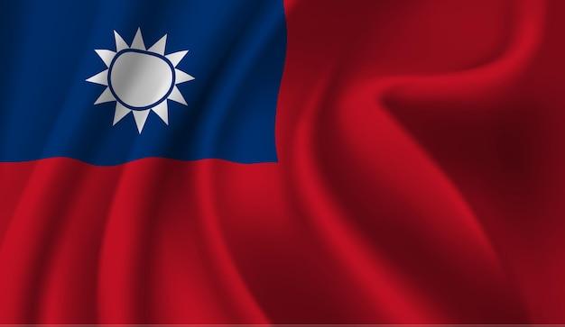 Wapperende vlag van de taiwan wapperende vlag van taiwan abstracte achtergrond Premium Vector