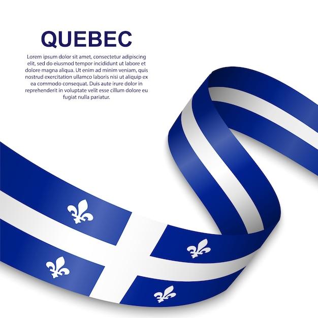 Wapperende vlag van quebec Premium Vector