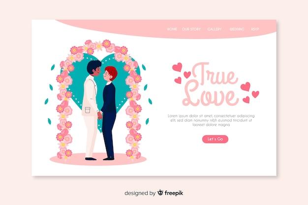 Ware liefde bruiloft bestemmingspagina Gratis Vector