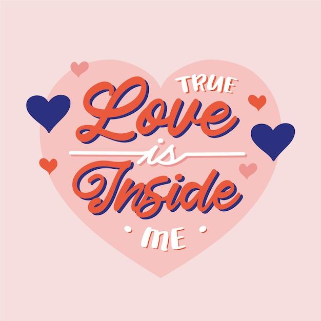 Ware liefde zit in mij belettering Gratis Vector