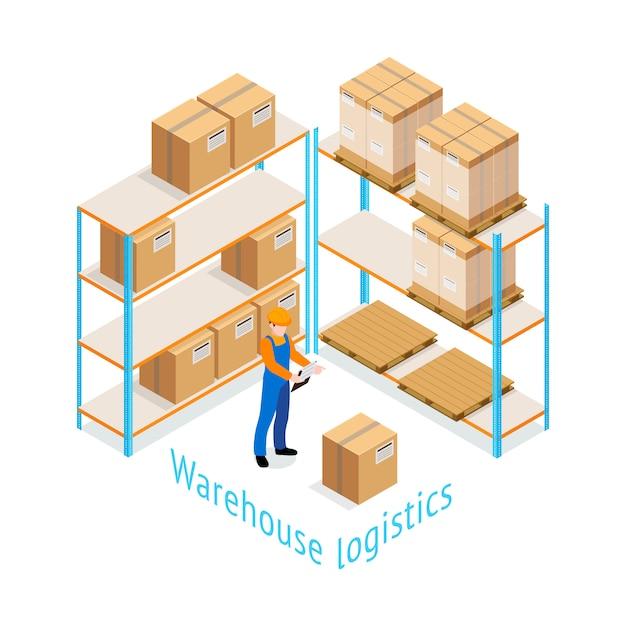 Warehouse logistics isometric design Gratis Vector