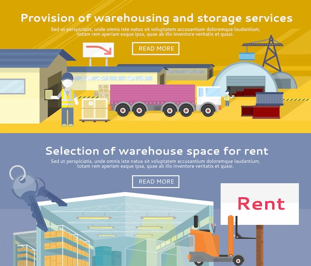 Warehouse storage service product Premium Vector