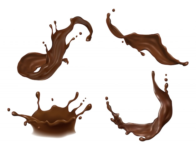 Warme chocolademelk, cacao of koffie splash met druppels, klodders, blots Premium Vector