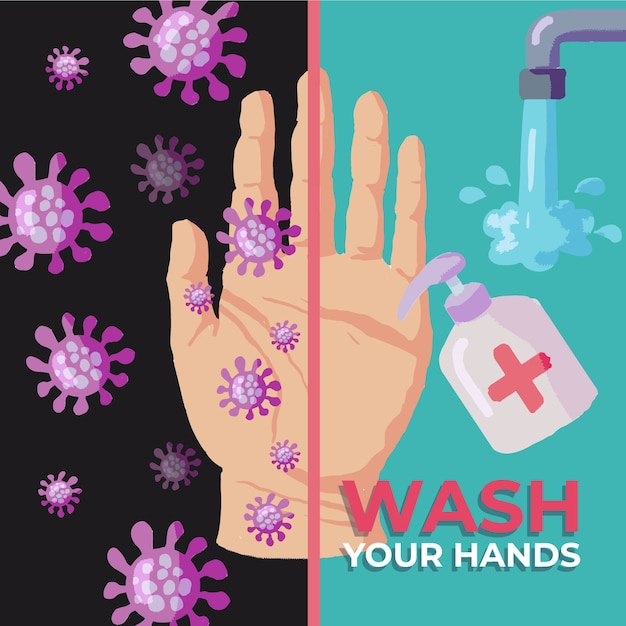 Was je handen ontwerp Gratis Vector