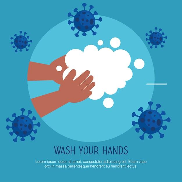 Was je handen sjabloon, kind wast haar handen Premium Vector