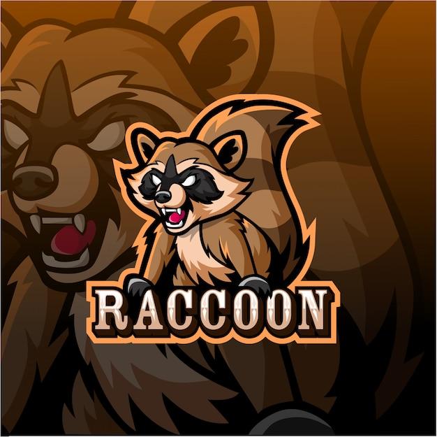 Wasbeer mascotte esport logo Premium Vector